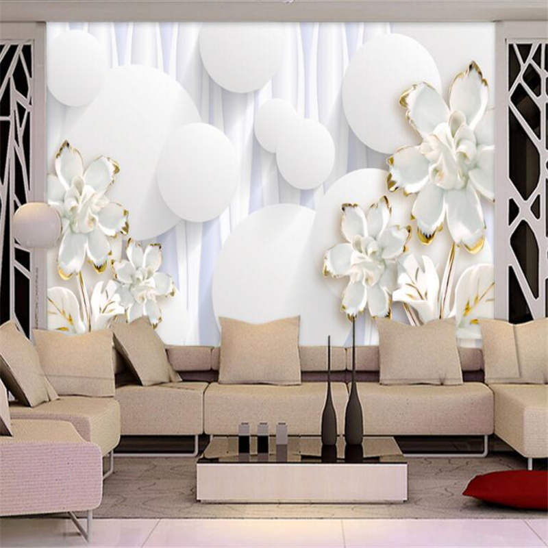 Us 8 85 41 Off Beibehang Custom Wallpaper 3d Circle White Flower Background Wall Decorative Painting Papel De Parede Wallpaper For Walls 3 D In