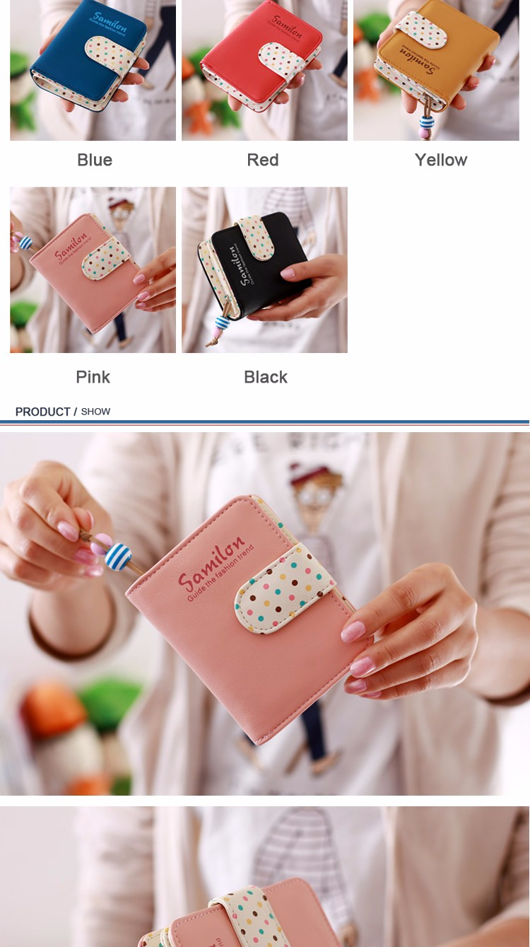Mode Permen Warna Wanita Dompet Pendek Polka Dots Kulit Zipper Qampampq Resin Analog Jam Tangan Hitam Strap Karet Vq04j010y Pemegang Kartu Kecil Untuk Anak Perempuan Laddies