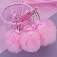 Doce dos desenhos animados rosa flamingo pompon gel caneta escrita canetas canetas material escolar kawaii staitonery paperlaria material