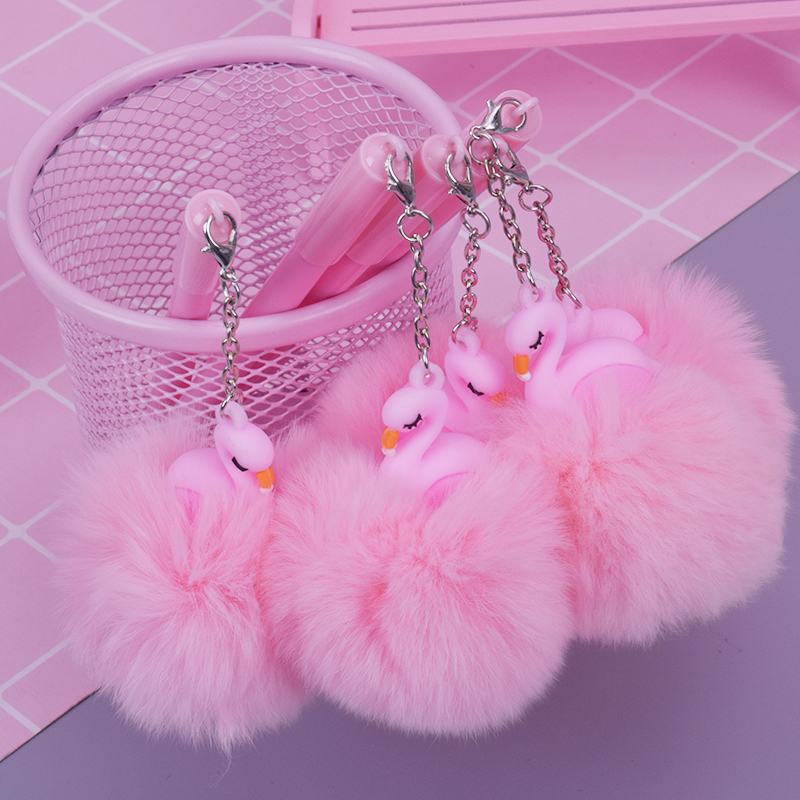 Sweet Cartoon Pink Flamingo Pompon Gel Pen Writting Pens Canetas Material Escolar Kawaii Staitonery Paperlaria School Supplies