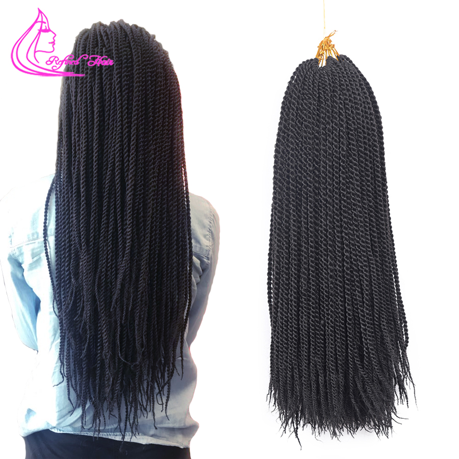 Refined Hair 14 18 22Inch 30Roots Senegalese Twist Crochet Hair Twist Braids Ombre Pure Color Braiding Synthetic Hair For Braid(China)