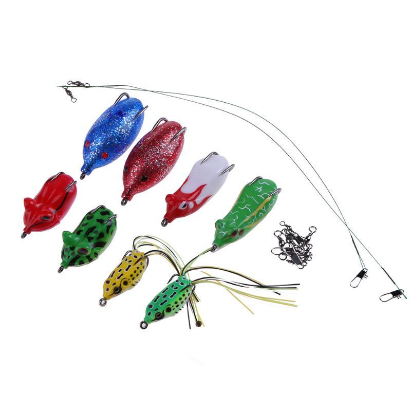 8pcs Soft Tube Bait Large Size Tube Plastic Fishing Lures Frog Lure Treble Hooks Topwater Ray Frog Artificial Soft Bait