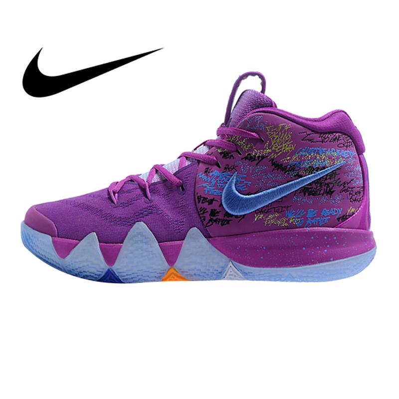 Nike Kyrie 4 Irving 4th Generation Confetti Men's Basketball Shoes Purple Wear Resistant  Outdoor Sports Athletic AJ1691-900