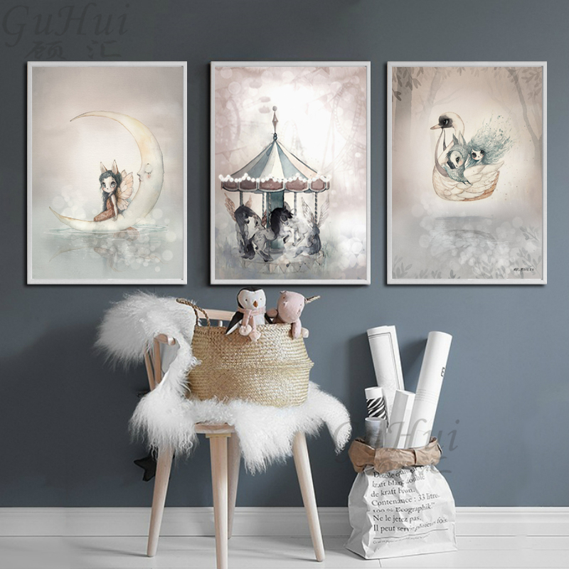 Nordic Modern Cartoon Moon Rabbit Girls Carousel Canvas Painting Spray Color Swan Art Poster Kids Baby Nursery Room Wall Picture