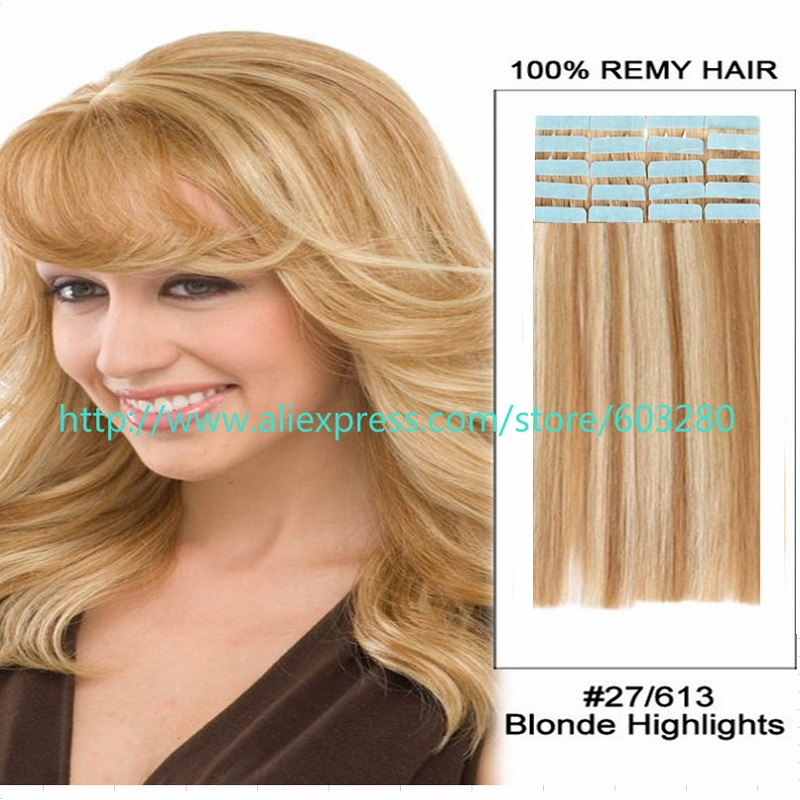 Silky Straight Blonde Mix Hair Skin Weft Human Hair Extensions 20pcs