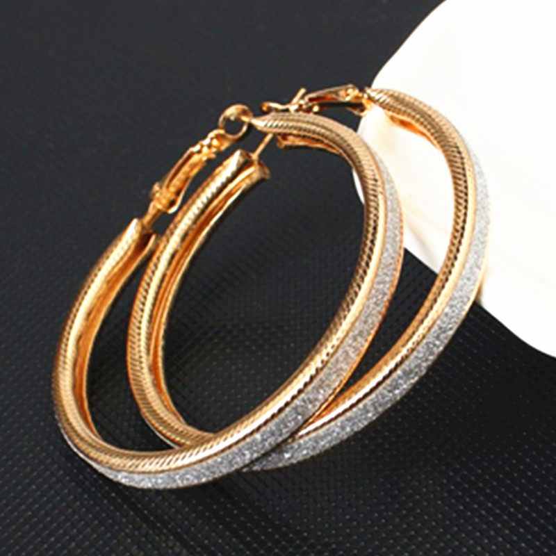 E047 High Quality Gold Silver Color Hoop Earring For Women Charming Big Large Round Circle Earring Fashion Party Wedding Jewelry