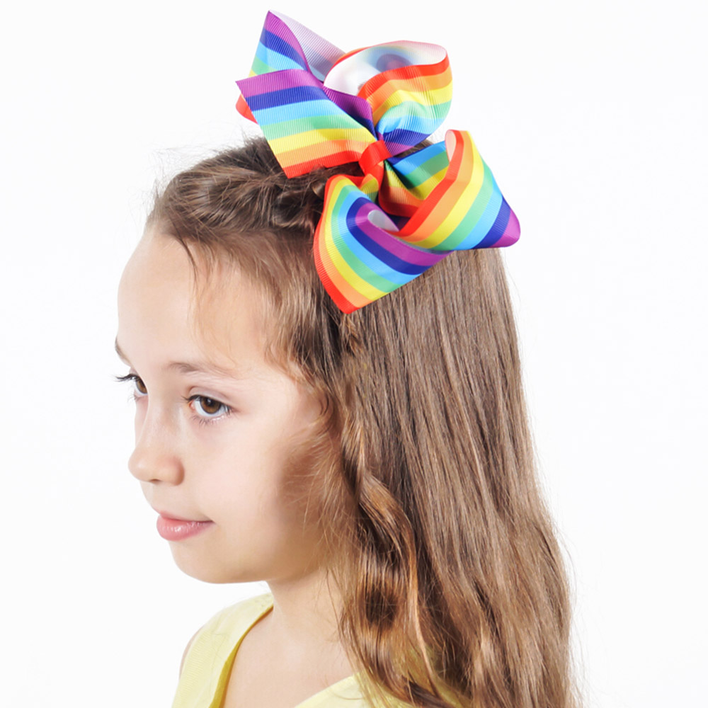 7.5 Super Extra Large Hair Bow Girls Boutique BIG Rainbows Ribbon Bows Hairpins Hair Clips Party Head Band Accessories