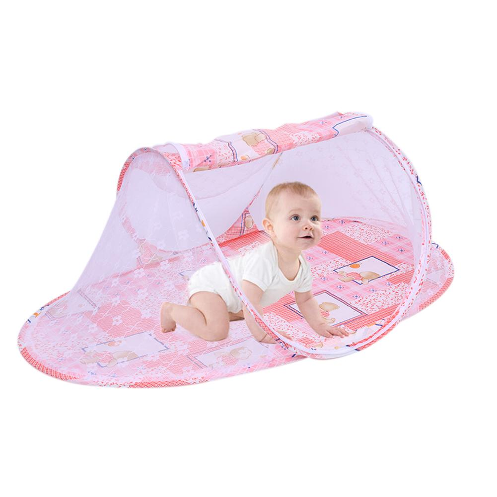 Pink Collapsible Infant Mosquito Net Cartoon Pattern Ship-shaped Baby Mosquito Net With Zipper Baby Children Bedclothes