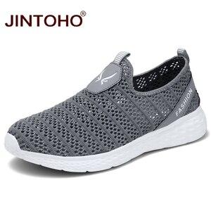 Image 1 - JINTOHO büyük boy yaz erkek ayakkabısı nefes erkekler Sneakers örgü erkek moda ayakkabılar rahat erkek ayakkabı üzerinde kayma erkek mokasen ayakkabıları