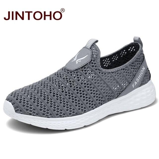 JINTOHO büyük boy yaz erkek ayakkabısı nefes erkekler Sneakers örgü erkek moda ayakkabılar rahat erkek ayakkabı üzerinde kayma erkek mokasen ayakkabıları