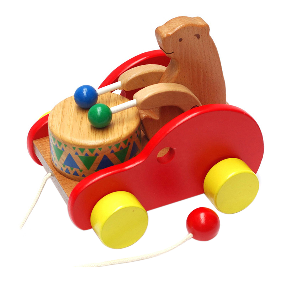 Lovely Cubs Beat Drums Car Toys Kids Baby Early Learning Creative Toys Wooden Educational Toys for Children Gift