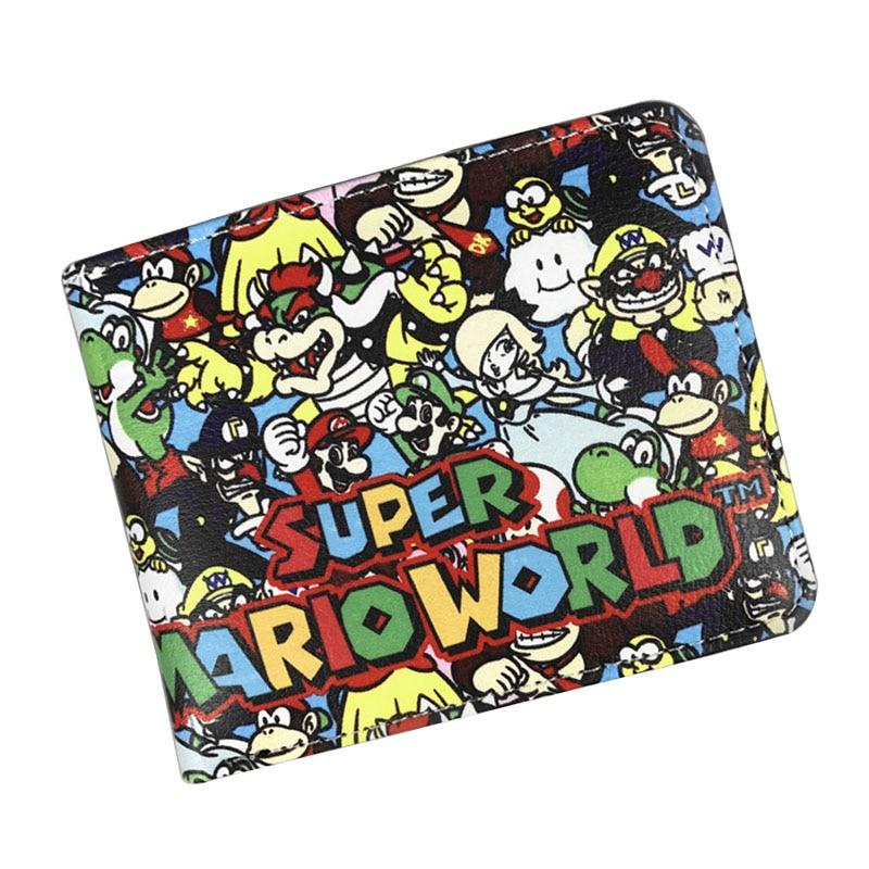 Super Mario World кожаный бумажник сложенный кошелек мультфильм творческий подарок Сумки Carteira masculina подарок детям Для мужчин Для женщин короткие Ж...