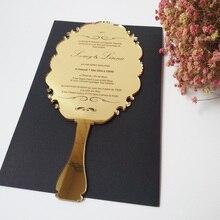 100pcs per lot handheld mirror shape 123*238mm laser engraving letters golden mirror acrylic wedding invitation card