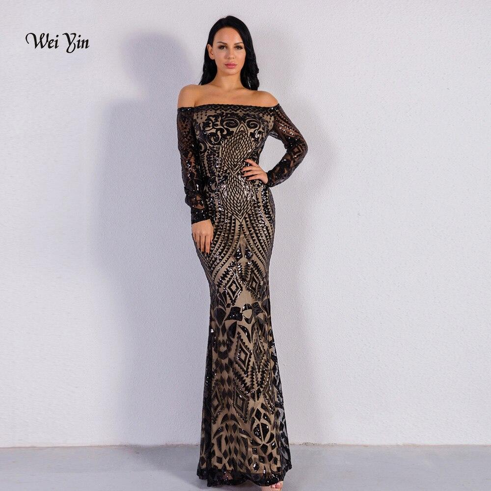 weiyin Black Long Sleeves Mermaid Evening Dress Off the Shoulder Elegant Women Formal Dress Arabic Dubai Party Prom Dresses 2019