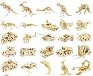 Image 1 - DIY детские 3D деревянные пазлы, модель самолета, сборочные строительные наборы, развивающие игрушки для детей