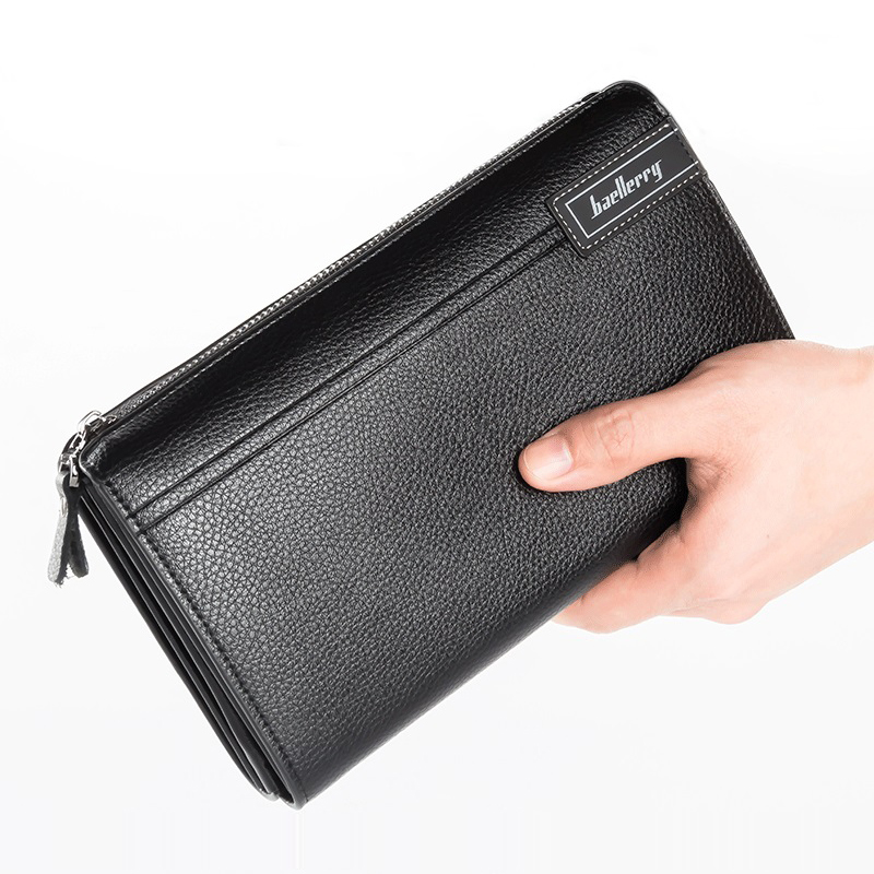 Фото 2017 PU Leather Men Clutch Bag Business Zipper Designer Organizer Wallet Purses For Men