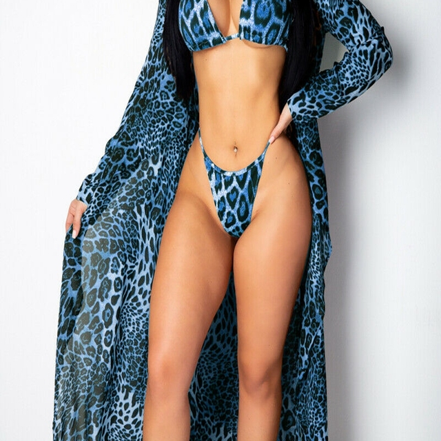 Leopard Print Bikini Swimsuit Swimwear with Bikini Cover Up 8