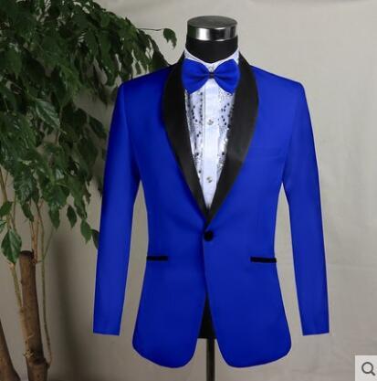 Blazer Men Groom Suit Black White Red Blue Mens Wedding Suits Costume Singer Star Style Dance Stage Clothing Formal Dress