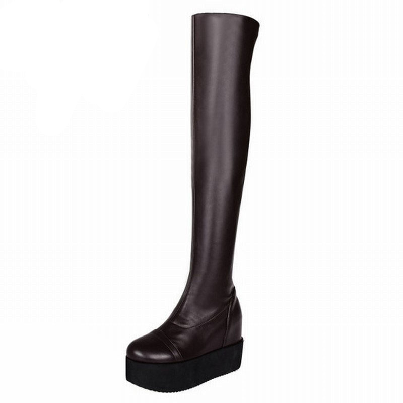 ФОТО Cool Ladies Sexy Over the Knee Long Boots Autumn Winter Fashion Shoes Woman Height Increasing Platform Winter Boots Size 34-43