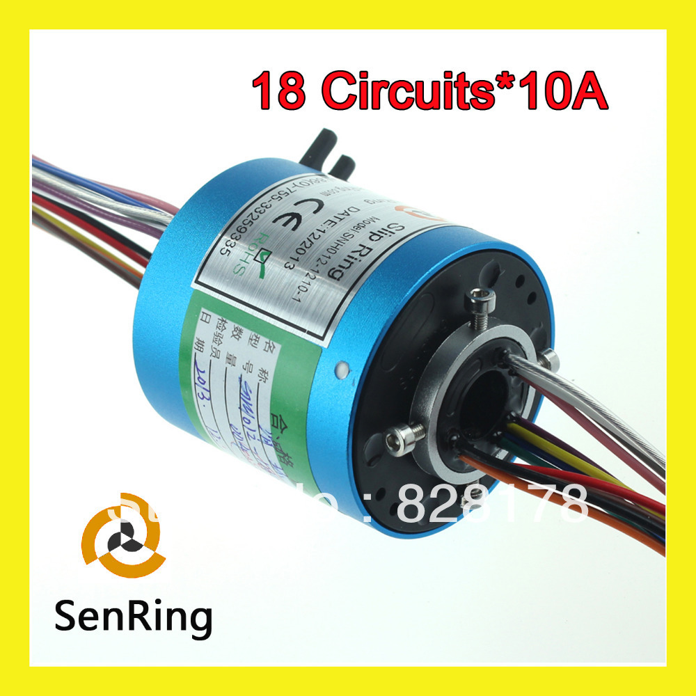 18 circuits 10A with bore size 12 7mm gold gold contacts of through hole slip rings