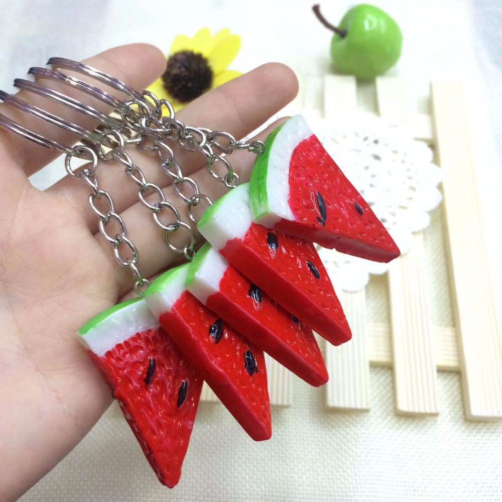 FREE SHIPPING BY DHL 100pcs lot Novelty Plastic Watermelon Keychains Mini Fruit Shaped Keyrings Gifts