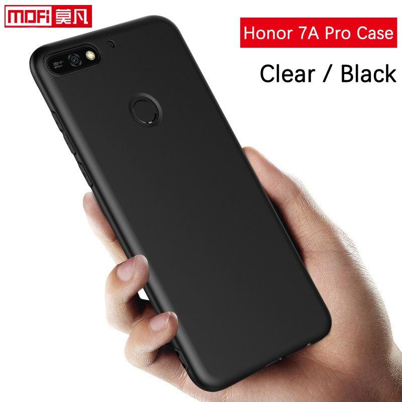 Huawei Honor 7A Pro Чехол Мягкий силиконовый прозрачный ТПУ Coque Mofi черный мягкий прозрачный RU версия 5,7 huawei Honor 7a pro Чехол