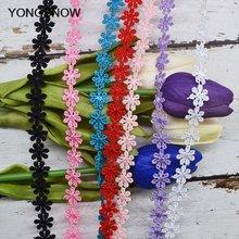 5 ярдов Цветочная вышивка из кружевной ткани Отделка ленты diy