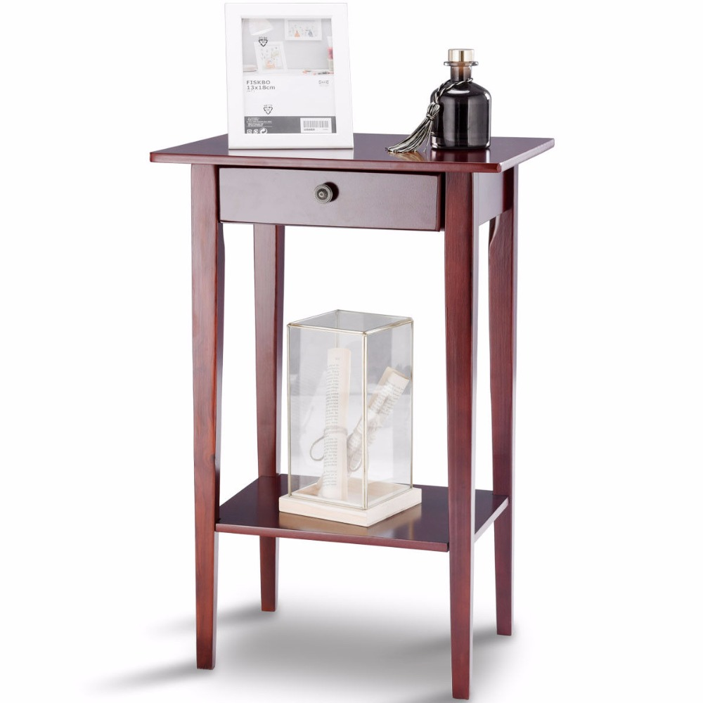 Giantex end table tall wood side table accent style telephone stand ...