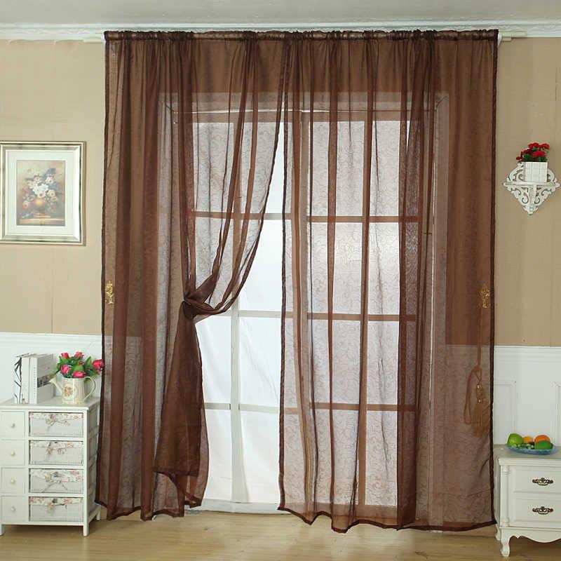 ISHOWTIENDA بلون تول الباب ستارة النافذة الستارة لوحة شير وشاح الستارة BN المعيشة غرفة نوم المطبخ الساخن بيع