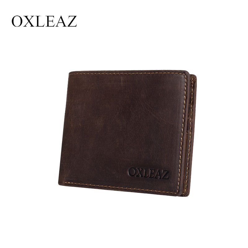 OXLEAZ Black Retro Short Men Genuine Leather Bifold Wallet Male Crazy Horse Women Purse Small Money Card Hand Wallets for Man men wallet male cowhide genuine leather purse money clutch card holder coin short crazy horse photo fashion 2017 male wallets