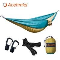 Acehmks Hammock For Outdoor Camping Portable Ultralight Parachute Nylon Hammocks Aluminum Alloy Snap With 2Tree Ropes