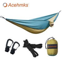 Acehmks Hammock For Outdoor Camping Portable Ultralight Parachute Nylon Hammocks Aluminum Alloy Snap With 2Tree Ropes