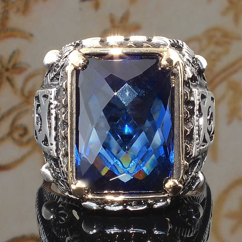Gothic Blue Zircon Stone Vintage Silver Color Mens Rings for Women Retro Carving Knuckle Finger Midi Rings Jewelry H5Q939