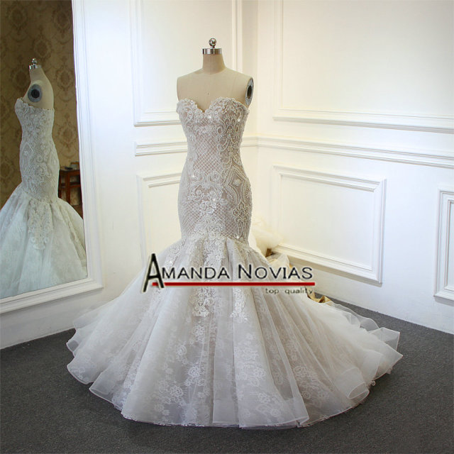 Champagne Mermaid Wedding Dress Full Beading