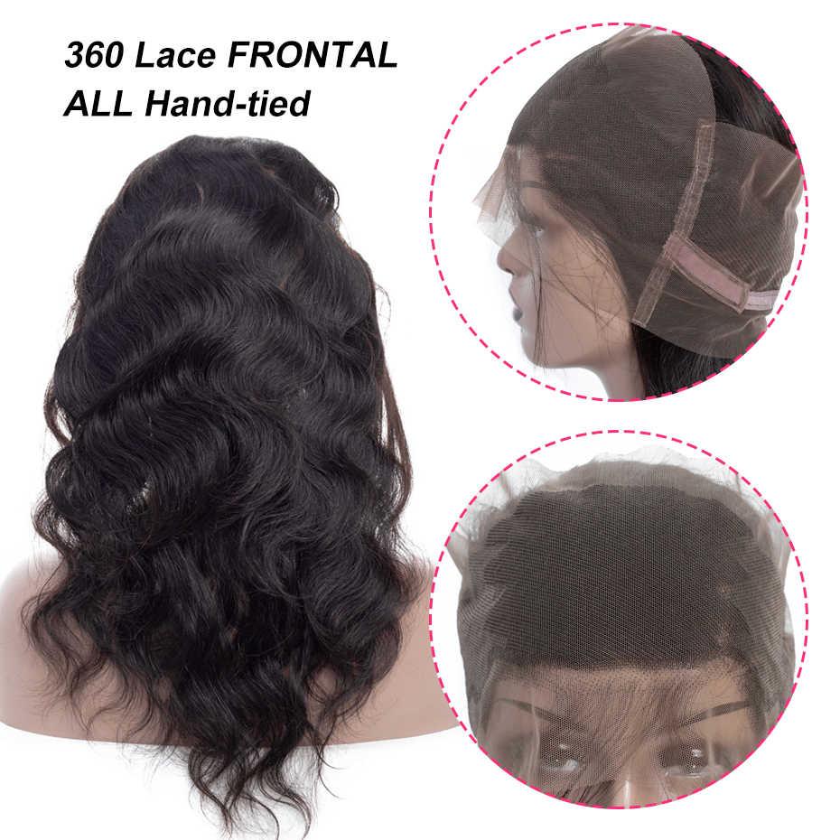 Pelo brasileño brillante pelo cuerpo onda cierre 360 encaje Frontal Remy cabello humano cierre con cabello de bebé Color Natural envío gratis