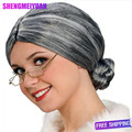 Hot Sale Short Wigs For Women Free shipping New Fashion Gray Granny Wig Old Lady Grandmother Grandma Wig Free Wig Cap