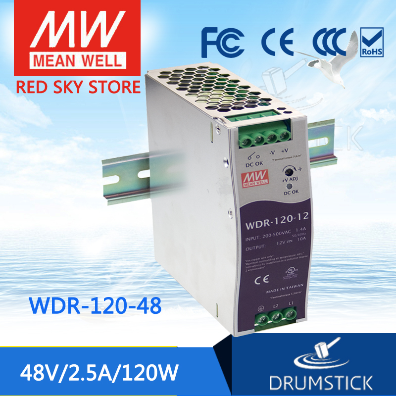 цена на Hot sale MEAN WELL WDR-120-48 48V 2.5A meanwell WDR-120 48V 120W Single Output Industrial DIN RAIL Power Supply