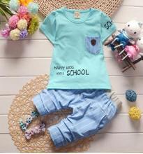 Short Sleeved Kids Clothes Set 2019 Summer Children  Clothing New Stylish Pocket Letter Pattern T-shirt+Pants 2Pcs/set QHX010