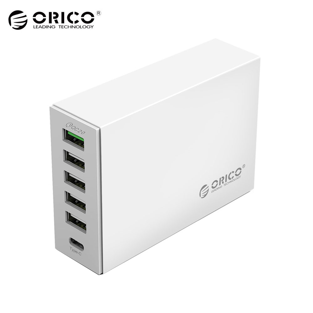 ORICO 6-ports USB Type-C QC2.0 Rapide Chargeur 5V2. 4A 9V2A 12V1. 5A Type-C 3.1A Mobile Téléphone Chargeur