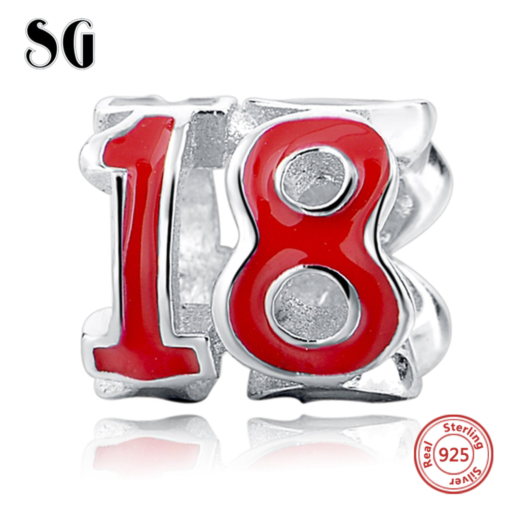 Number 18 Beads Fit Authentic Pandora Charms Bracelets Necklace for Women Letter Fashion Bead Charming DIY Accessories Making