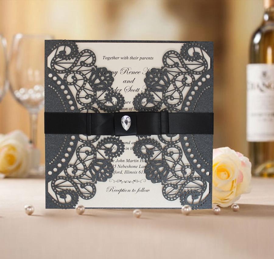Schwarzer Spitze-Hochzeits-Einladungs-Entwurf; Schwarze - Partyartikel und Dekoration