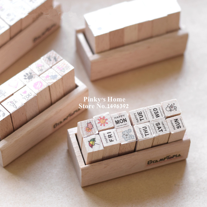 Cute DIY Wooden Box Ink Pad Stamps Love Kids Diary Decoration Wood Stamp Stationery Set