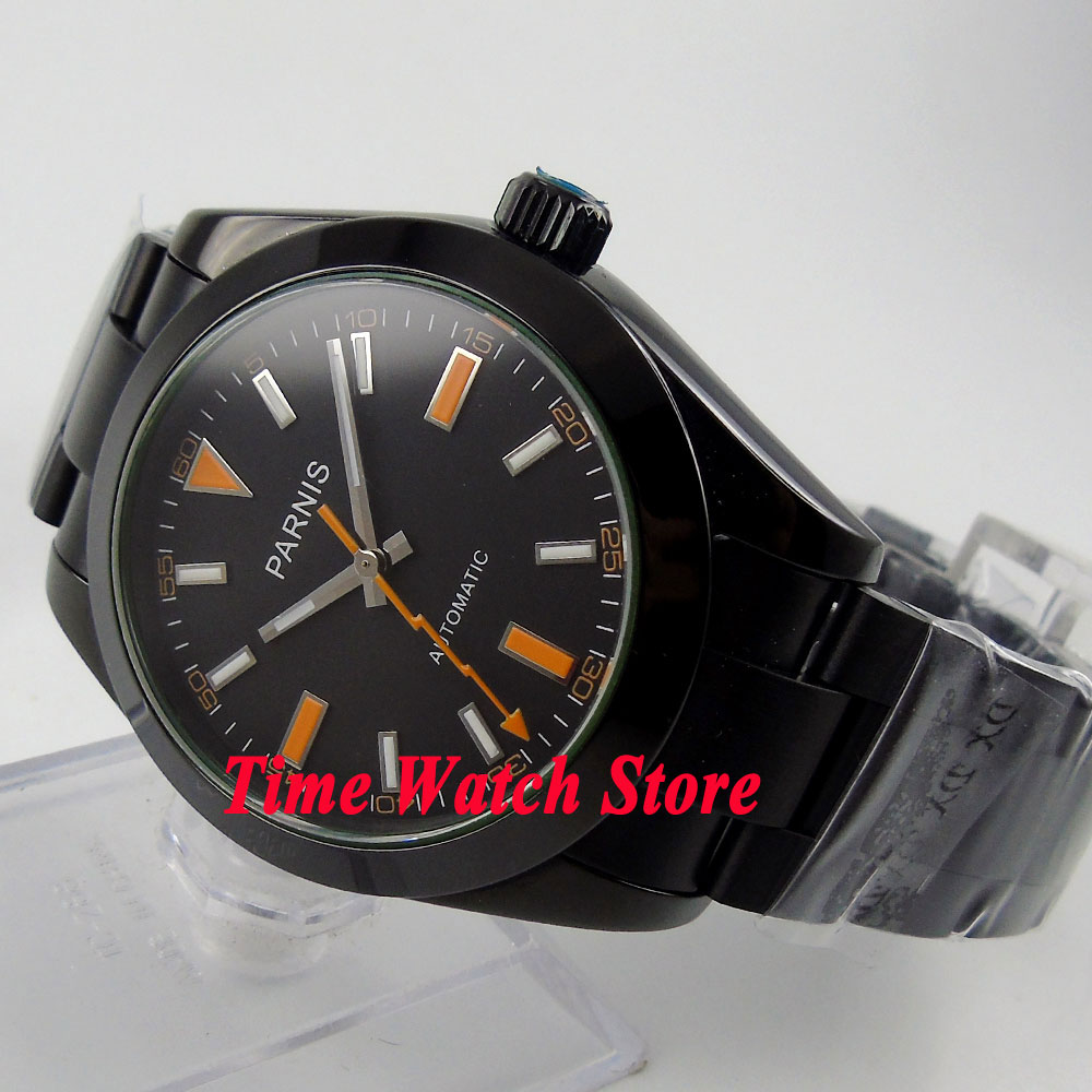 лучшая цена Parnis 40mm black dial luminous flash hand PVD case sapphire glass MIYOTA Automatic men's watch 264 relogio masculino