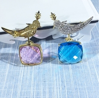 Pure 925 Sterling Silver Luxury Hot Cute Bird Brooch Pink/ Blue Crtystal Zircon Women Square Stone Brooch Jewelry