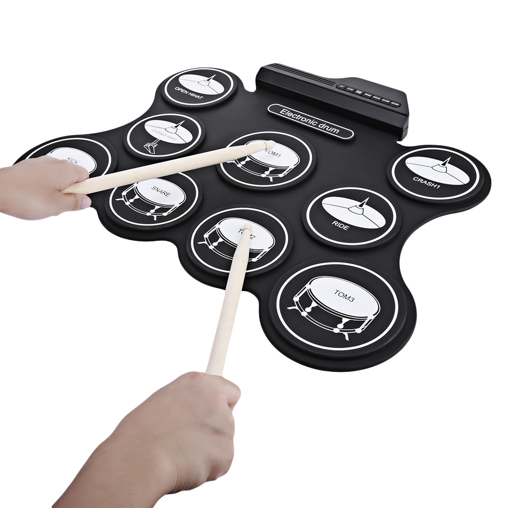 AEOFUN G4009 Electronic Roll Up Drum Kit With 5 Timbres And 8 Demo Songs Toy Musical Instrument Support Pop Rock And Roll Latin image