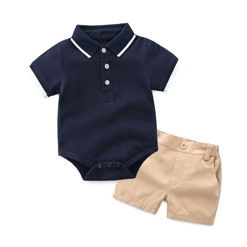 Boys Set Summer Baby Boys Clothes Sets Cotton Gentleman Short Sleeve Rompers Shirts + Shorts 2pcs Suit Children Baby Clothing