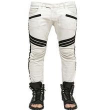 2017 men jeans White locomotive biker jeans stretch skinny jeans creases fashion slim fit stretch jeans