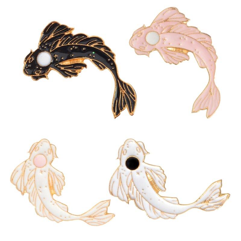 Значки в виде животных Инь Ян кои, японская рыбка кои, золотая рыбка, значки на лацкан с твердой Эмалью, броши и коллекция булавок