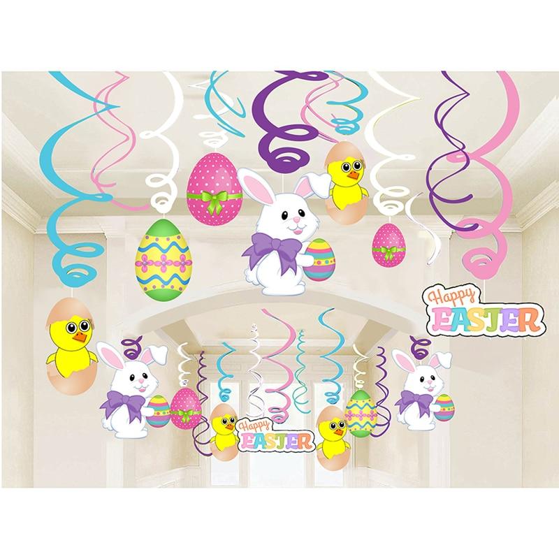 30 unids Pascua Decoración Multicolor Espirales Remolinos Banner - Para fiestas y celebraciones