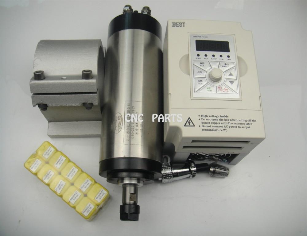CNC milling spindle ER16 1.5KW water cooled spindle max.10mm diameter cutter +spindle support +10*ER16 + 1.5kw inverter шпиндель станка suzhou industry city 220v1 5kw cnc er16